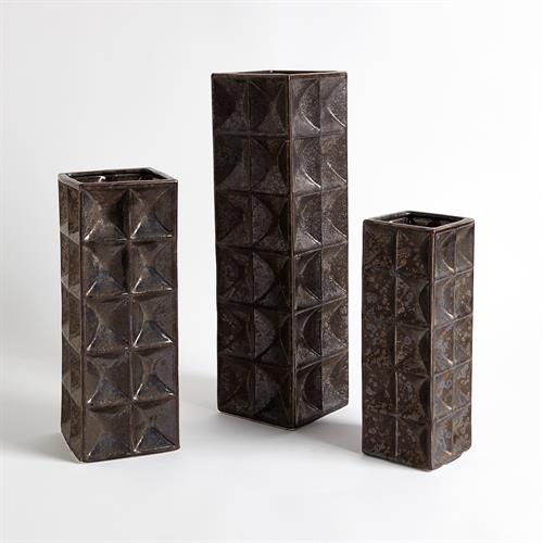 Square Grid Vases-Bronze
