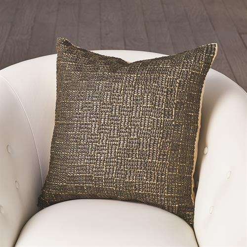 Beaded Basketweave Pillow-Bronze