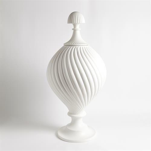 Grande Swirl Jar-Matte White