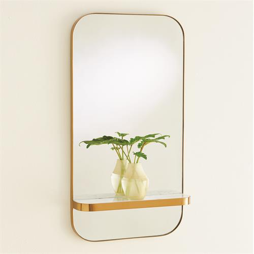 Train Car Mirror-Gold w/White Marble Shelf