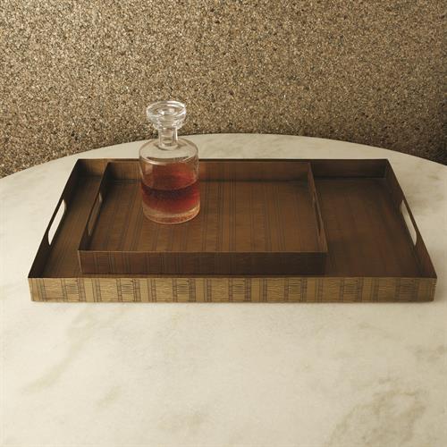Kokoro Etched Rectangle Trays-Brass