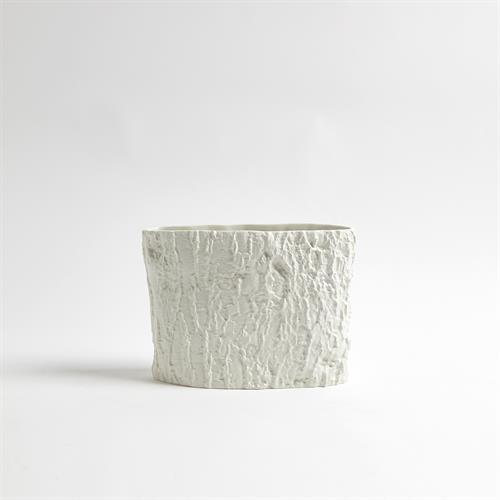 Alder Ellipse Vase-Matte White-Sm