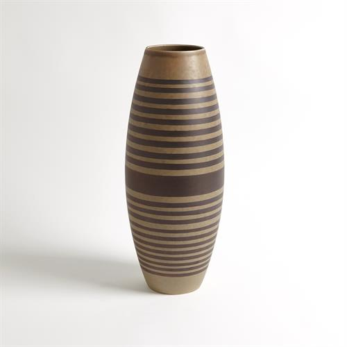 Banded Bowed Vase-Tarnish