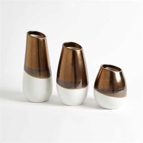 Two Tone Vases-White/Gold