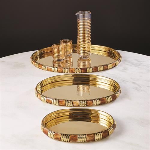 Banded Bone and Brass Tray