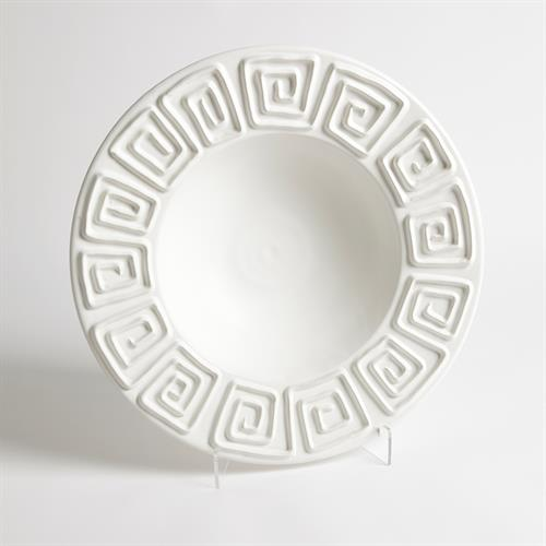 Greek Key Bowl-Matte White