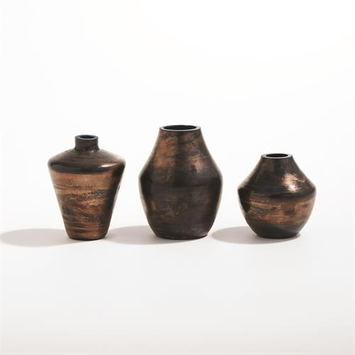 Petite Etruscan Vases-Reactive Blue/Gold