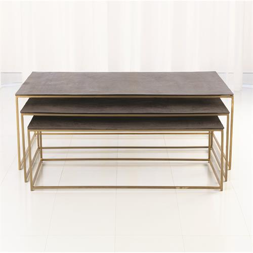 S/3 Sand Casted Nesting Cocktail Tables-Gold frame w/Black Top