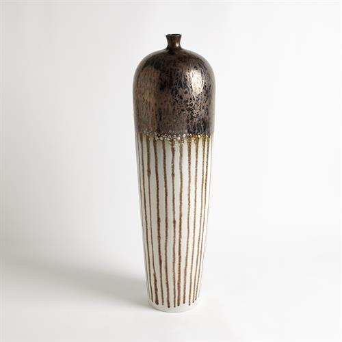 Reactive Bronze Stripe Vessel-Tall