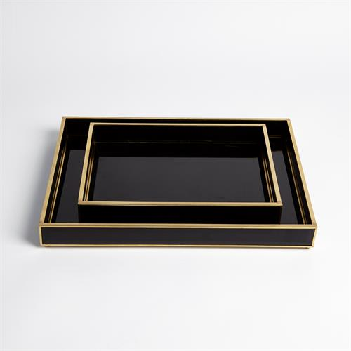 Bevelled Black Glass Trays