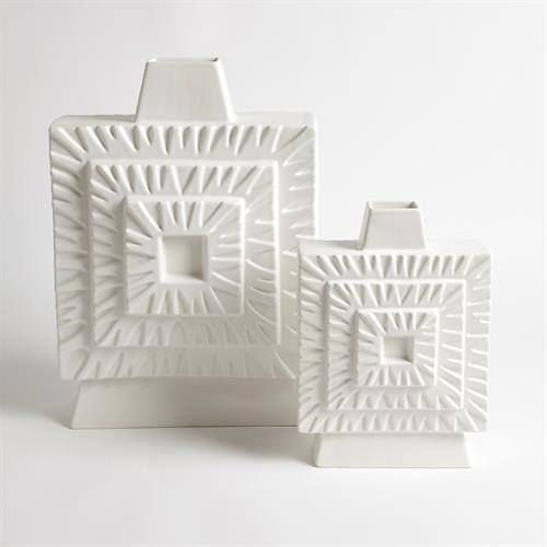 Artisan Square Vases-Matte White