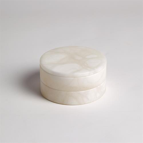 Alabaster Swivel Box-White