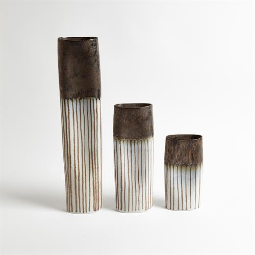 Reactive Bronze Stripe Oval Vases