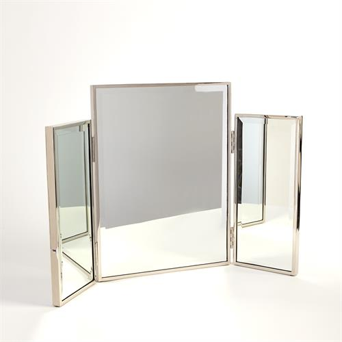 Tri-Fold Vanity Mirror-Nickel