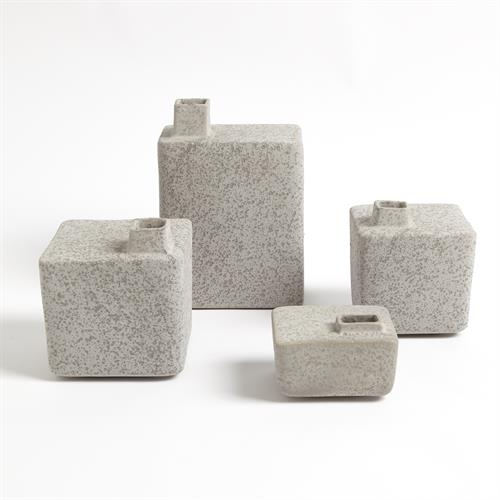 Square Chimney Vases-Grey