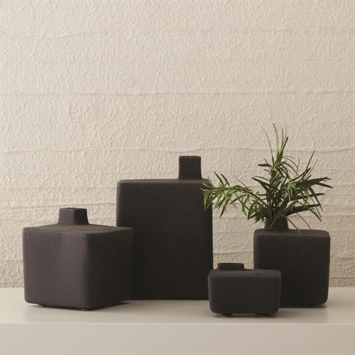 Square Chimney Vases-Black