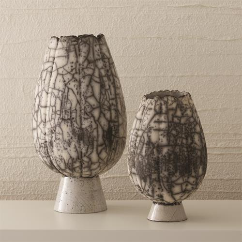 Crackled Footed Vases-Black Raku