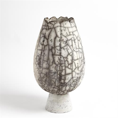 Crackled Footed Vase-Black Raku-Lg