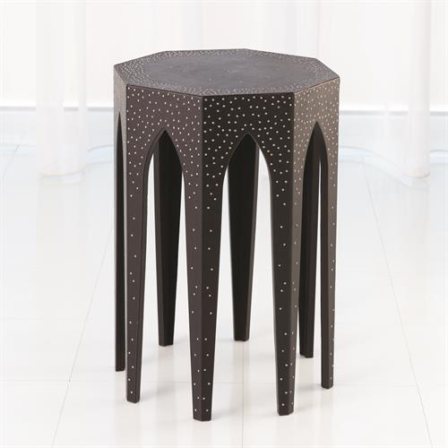 Vincent Arch Accent Table-Black Leather