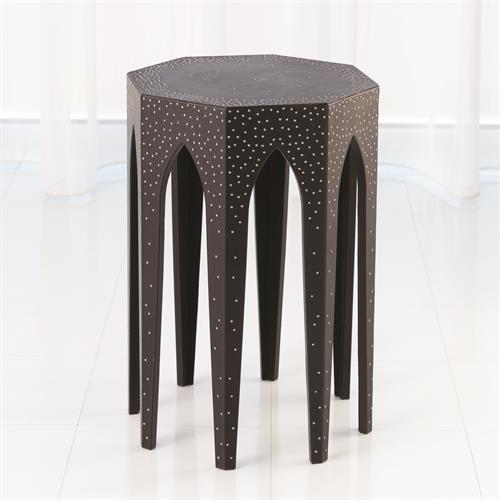 Vincent Arch Accent Table-Black Leather