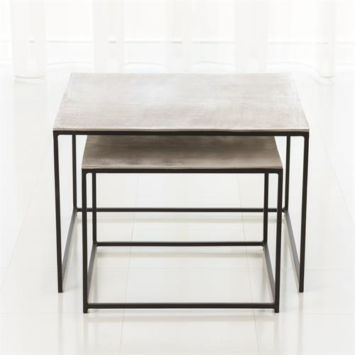 S/2 Sand Casted Nesting End Tables-Black Frame w/Nickel Top
