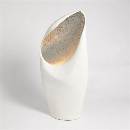 Cowl Lamp-White w/Silver Leaf