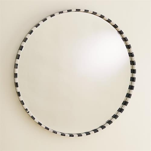 Black/White Marble Mirror-Round