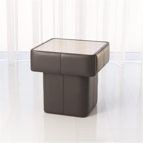 Leather Wrap Side Table-Dark Grey w/Travertine Top