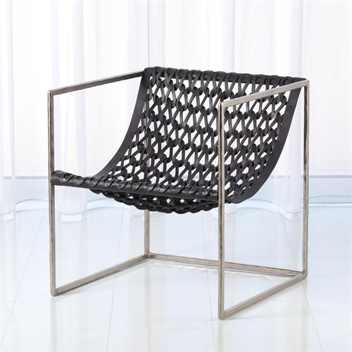Knit & Pearl Chair-Nickel-Dark Grey Leather