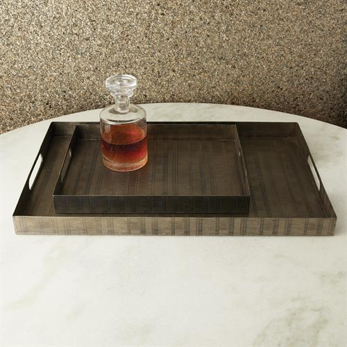 Kokoro Etched Rectangular Trays-Nickel