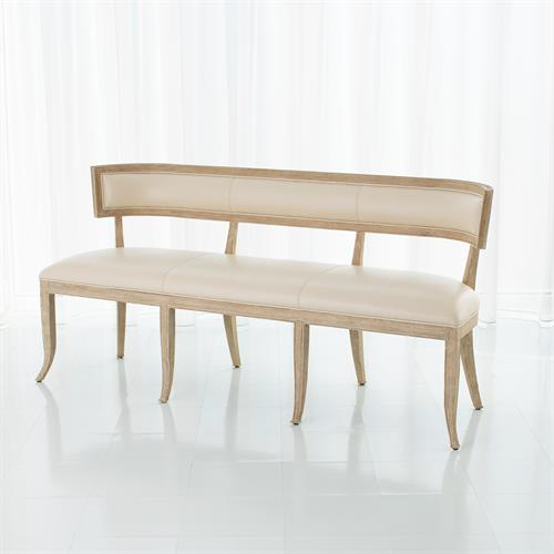 Klismos Bench-Beige Leather