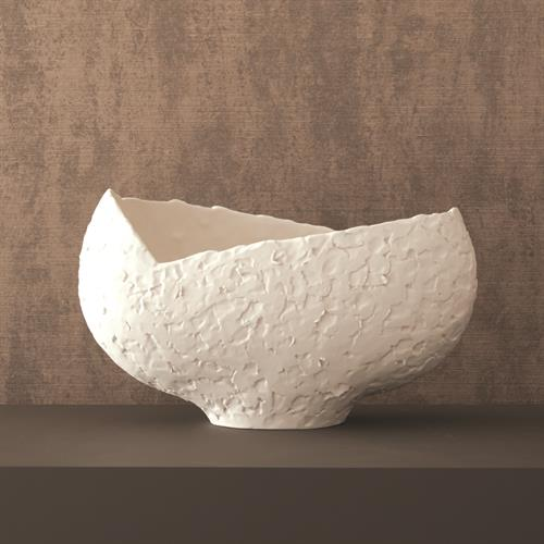 Asymmetrical Stipple Bowl-Matte White