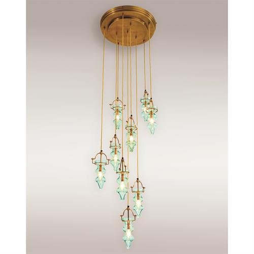 Tea Light Chandelier-Aqua