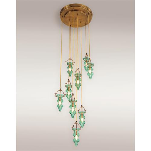 Tea Light Chandelier-Teal