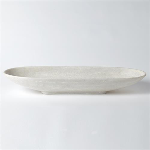 Long Bowl-White Marble-Vertical Lines