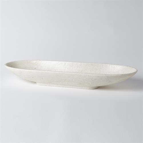 Long Bowl-White Marble-Horizontal Lines