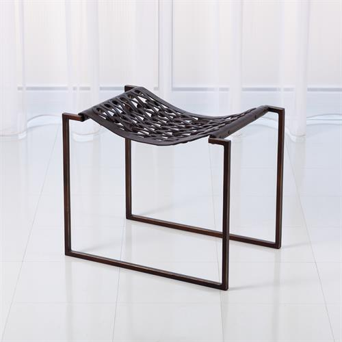 Knit & Pearl Stool-Bronze-Dark Brown Leather