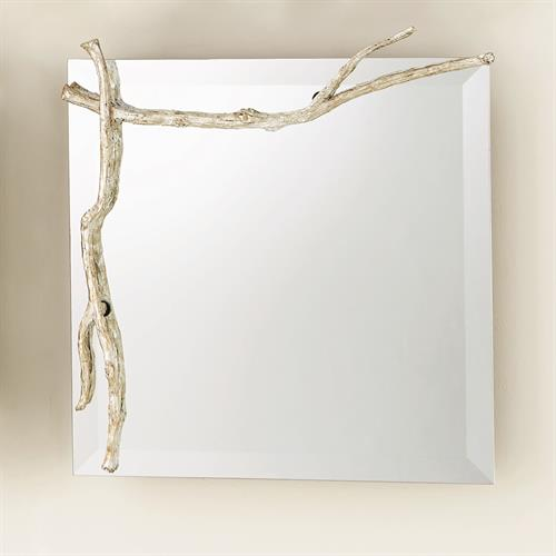 Twig Mirror-Silver Leaf