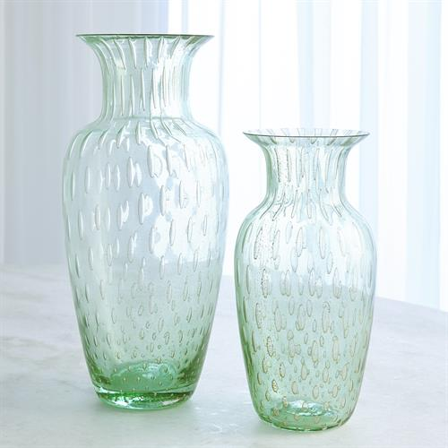 Granilla Green Urn with Golden Bubbles