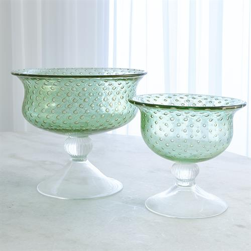 Granilla Green Pedestal Bowl with Golden Bubbles