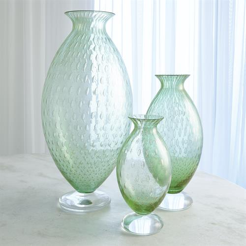 Granilla Green Vase with Golden Bubbles