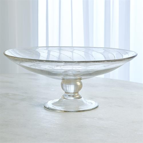 Spiral Palace Footed Bowl-Clear