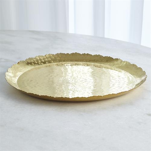 Hammered Round Tray-Brass