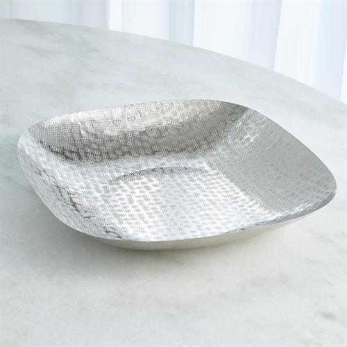 Hammered Square Bowl-Nickel