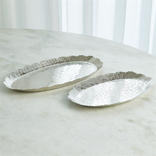 Hammered Oval Tray-Nickel