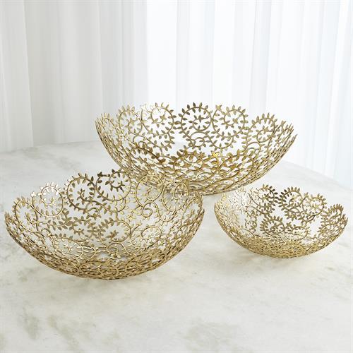 Leafy Bowls-Brass