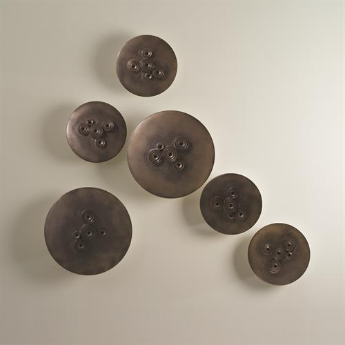 Galileo Disks-Wall Mounted-Bronze Reactive Glaze