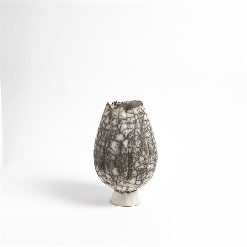 Crackled Footed Vase-Black Raku-Sm