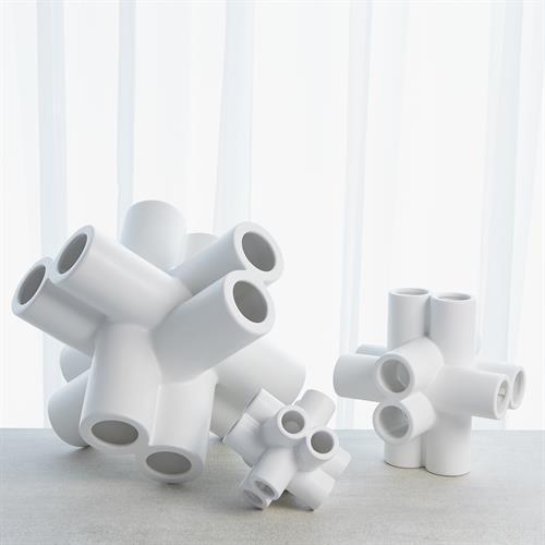 Cube Tube Sculpture-Matte White