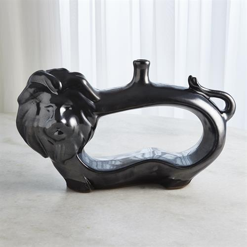 Lion Vase-Metallic